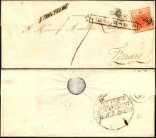 1850 - 15 Cent. I Tipo (3), Perfetto, Su Sovracoperta Di Lettera Da Padova 21/12/1850 A Ferrara, Tas... - Lombardy-Venetia