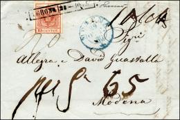 1850 - 15 Cent. I Tipo (3), Perfetto, Su Fresca Lettera Da Verona 28/10/1850 Per Modena, Tassata Con... - Lombardy-Venetia