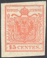 1850 - 15 Cent. Rosso Vermiglio, I Tipo (3), Nuovo Senza Gomma, Perfetto. Bello! ... - Lombardy-Venetia