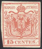 1850 - 15 Cent. Rosso, I Tipo (3), Giusto In Un Punto, Senza Gomma. ... - Lombardy-Venetia