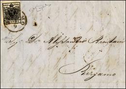 1856 - 10 Cent. Nero Intenso (2d), Bella Varietà Di Clichè, Perfetto, Isolato Su Lettera Da Bergam.. - Lombardy-Venetia