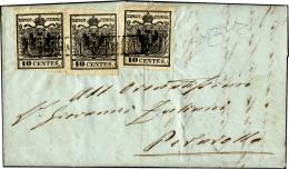 1855 - 10 Cent. Nero Intenso (2d), Un Esemplare Del I Sottotipo E Due Del II, Perfetti, Su Lettera D... - Lombardy-Venetia