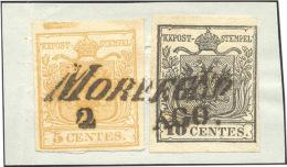 1850 - 5 Cent. Giallo Ocra, Spazio Tipografico In Alto, 10 Cent. Nero (1m,2), Perfetti, Usati Su Fra... - Lombardy-Venetia