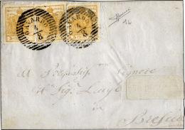 1850 - 5 Cent. Arancio (1h), Tre Esemplari Perfetti Su Sovracoperta Da Gavardo 4/8 A Brescia, Bollo ... - Lombardy-Venetia