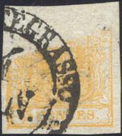 1850 - 5 Cent. Arancio (1h), Gran Parte Della Stampa Mancante, Usato Ad Abbiategrasso, Perfetto. Ecc... - Lombardy-Venetia