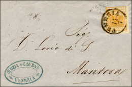 1850 - 5 Cent. Giallo Arancio (1g), Giusto In Alto, Isolato Su Sovracoperta Di Circolare Da Venezia ... - Lombardy-Venetia