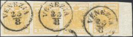 1850 - 5 Cent. Giallo Arancio (1g), Striscia Orizzontale Di Quattro, Bordo Di Foglio, Perfetto, Usat... - Lombardy-Venetia