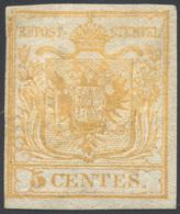 1850 - 5 Cent. Giallo Arancio (1g), Gomma Originale, Perfetto. Cert. Diena. ... - Lombardy-Venetia