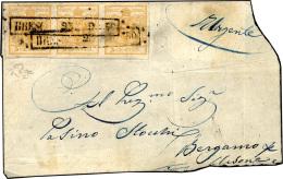 1850 - 5 Cent. Giallo Arancio, I Tiratura (1d), Striscia Di Tre, Perfetta, Su Gran Parte Di Frontesp... - Lombardy-Venetia