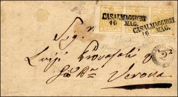 1851 - 5 Cent. Giallo Limone Verdastro (1b), Striscia Orizzontale Di Tre, Bordo Di Foglio A Sinistra... - Lombardy-Venetia