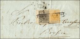 1850 - 5 Cent. Giallo, I Tiratura, E 10 Cent. Grigio Nero, I Tiratura (1a,2b), Perfetti, Su Lettera ... - Lombardy-Venetia