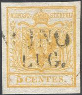 1850 - 5 Cent. Giallo, I Tiratura (1a), Perfetto, Usato A Soncino. Bello! A.Diena, Cert. Colla. ... - Lombardy-Venetia