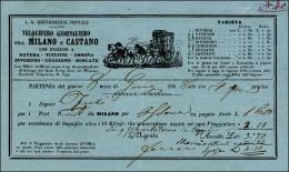 1858 - Biglietto Del Velocifero Giornaliero Fra Milano E Castano, Con Indicazione Delle Stazioni E D... - Lombardy-Venetia