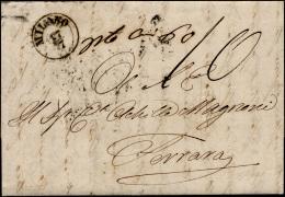 1855 - Lettera Non Affrancata Da Milano 17/7/1855 A Ferrara, Tassata 10 Baj, Al Verso Bollo Di Disin... - Lombardy-Venetia