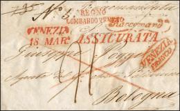 1846 - Sovracoperta Di Lettera Raccomandata Da Venezia 18/3/1846 A Bologna, Segni Di Tassa Al Verso ... - Lombardy-Venetia