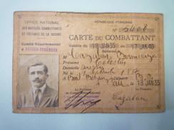 CARTE  De  COMBATTANT  1935   (ARESSY)    - Vieux Papiers