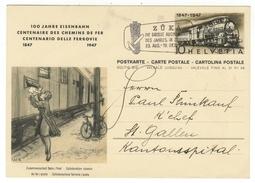 Suisse // Schweiz // Switzerland //  Entiers Postaux  // Entier Postal 1947 100 Ans Des Chemins De Fer - Entiers Postaux