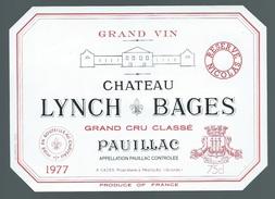 """Etiquette   Chateau   Lynch  Bages  Grand Cru Classé  Pauillac  1977   A Cazes Propriétaire  """"réserve Nicolas"""" - Bordeaux"""