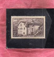VALLEES D'ANDORRE Français FRENCH ANDORRA FRANCE FRANCESE 1944 LA MAISON DES VALLEES 3f SEPIA MH - Neufs