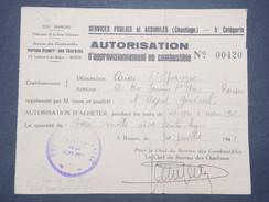 MILITARIA - Autorisation D 'approvisionnement En Combustible De Rouen En 1941 - L 9274 - Documents