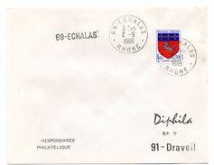 RHONE - Dépt N° 69 =  ECHALAS 1968 =  CACHET MANUEL A9 + GRIFFE LINEAIRE - Postmark Collection (Covers)