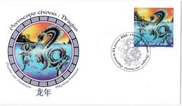 Enveloppe Commémorative 1er Jour Horoscope Chinois Année Du Dragon - French Polynesia