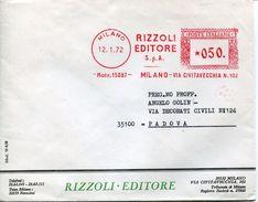 22803 Italia , Red Meter/freistempel/ema/milano 1972 Rizzoli Editore, Cover As Scan - Affrancature Meccaniche Rosse (EMA)