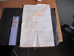 BRAINE LE COMTE- PLAN DE PARCELLES DE M MAROUSE Et MM LEROY- 8 AOUT 1880-Signé WEREMANS-FERME DE LOGE - Travaux Publics
