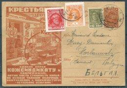 1930 USSR Russia Uprated Illustrated Stationery Postcard - Belgium - Brieven En Documenten