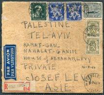 1946 Belgium Registered Airmail Cover Alisa Levy,Koekelberg - Josef Levy, Ramat Gan, Tel Aviv, Palestine. Judaica - Belgium