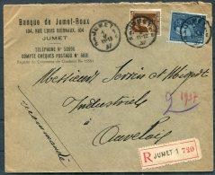 1937 Belgium Banque De Jumet-Roux Registered Bank Cover - Auvelais - Covers & Documents