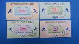 """République D'Haiti   4  Bloc Feuillet  - Jeux Olympiques """" Marathons """" 1968 , Tampon Port Au Prince 4/8/1969 - Haiti"""