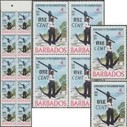 Barbade 1969 Y&T 299 Mi 291 Curiosités De Surcharges, 16 Timbres. Policier De Port En Plein Travail, Les Mains En Poche - Police - Gendarmerie