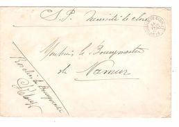 Lettre En Franchise En Service Publique C.Ambulant Bruxelles-Luttre-Namur 26/2/1909 V.Namur JS33 - Postmark Collection