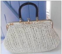 Sac à Mains Vintage, Années 80, Made In Italy, Extérieur En Corde Tressé - - Purses & Bags