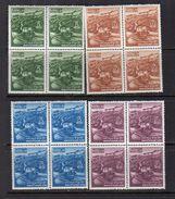 1971 Wangdiphodrang Dzong Michel 424-7 Blocks Of 4 (b58) - Bhutan