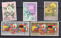 Overprint Winston Churchill 1965 MNH Set Mi. 53-7 SCARCE SET (B60) - Bhutan