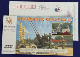 Antiaircraft Gun Exercise,China 2003 Zhengzhou National Defense Education College Advertising Pre-stamped Card - Militaria