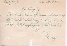 Deutsche Wehrmacht - Standortarzt Jasi - Bescheinigung Für Selbstverpflegung - 1941 (29382) - Dokumente