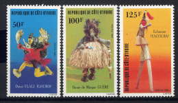 CÔTE D'IVOIRE - 663/665** - DANSES TRADITIONNELLES - Côte D'Ivoire (1960-...)