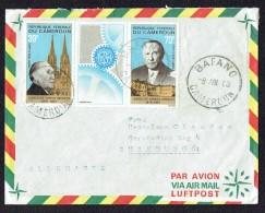 1968  Lettre Avion Pour L'Allemagne  Triptyque Chancellier Adenauer - Cameroon (1960-...)