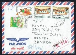 1992  Lettre Recommandée Pour Le Canada  Sauvons Gorée 500fr X2, Basketball 125fr, Noël 1989 - Senegal (1960-...)