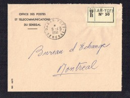 1968  Lettre Recommandée Du Service Postal Pour Le Canada En Franchise - Senegal (1960-...)