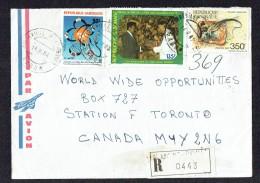 1987 Lettre Avion Recommandée Pour Le Canada - Gabon (1960-...)