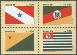 BRAZIL 1985 STATE FLAGS BLOCK OF 4 - Non Classés