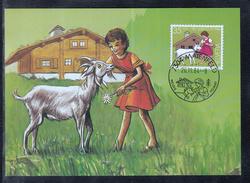 A 12 ) Beautiful Maxi Card  SWITZERLAND 1984  - CHILDREN'S BOOKS  HEIDI - Maximum Cards