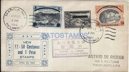 74311 PHILIPPINES MANILA COVER YEAR 1943 CIRCULATED TO JAPAN MILITARY POLICE NO POSTAL POSTCARD - Filipinas