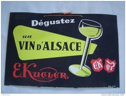 """Publicité Carton """"VIN D'ALSACE"""" E. KUGLER. - Plaques En Carton"""