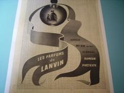 ANCIENNE PUBLICITE PARFUM DE LANVIN - Fragrances
