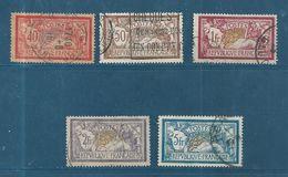 France Type Merson N°119 A 123  Oblitérés  ( Cote 98€50 ) - 1900-27 Merson